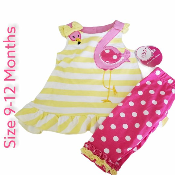 NWT Nannette  Pink Flamingo Outfit  9/12 Months